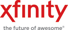 Logo of Comcast xfinity with slogan: the future of awesome