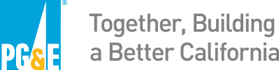 Logo of PG&E with slogan: Together, Building a Better California